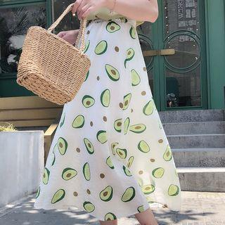 Avocado Printed A-line Skirt