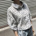 Leaf Print Tab-sleeve Shirt