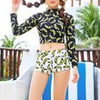 Set: Banana Print Cropped Rashguard + Swim Bottom