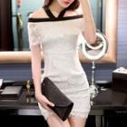 Short-sleeve Off-shoulder Lace Dress