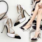 Color Block Rhinestone Ankle Strap Stilettos