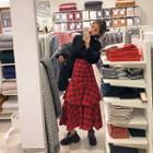 Ruffled Tiered Tartan Plaid Maxi Skirt