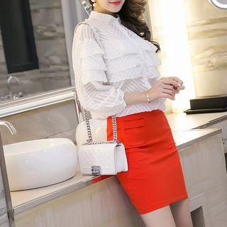 Plain Pocketed Pencil Skirt