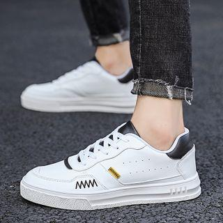 Faux Leather Embroidered Sneakers