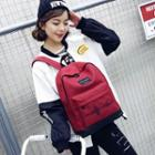 Embroidered Heart Beat Canvas Backpack