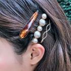 Set: Faux Pearl / Marble Print Hair Clip (assorted Designs)