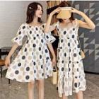 Sleeveless / Short-sleeve Dotted Dress