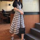 Sleeveless Plaid Spaghetti-strap Dress / Boxy T-shirt