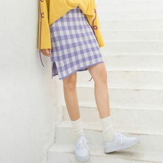 Plaid Mini Straight-fit Skirt As Shown In Figure - One Size