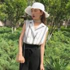 Sleeveless V-neck Striped Shirt