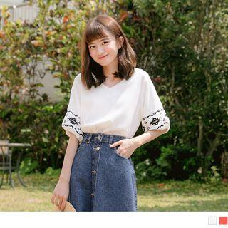 Embroidered Sleeve V-neck Chiffon Top