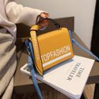Contrast Trim Lettering Crossbody Bag
