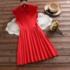 Ruffle Trim Collared Sleeveless Dress