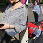 Boxy Long-sleeve Striped Blouse