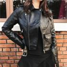 Long-sleeve Faux Leather Cropped Jacket