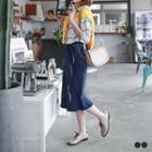 Distressed Midi Denim Pencil Skirt