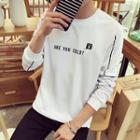 Long-sleeve Letter Printed Striped T-shirt