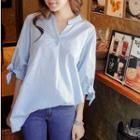 Elbow-sleeve Pinstripe V-neck Blouse