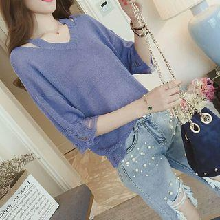 Cut-out Distressed Elbow-sleeve Knit Top