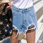 Fishnet-detail Distressed Denim Shorts