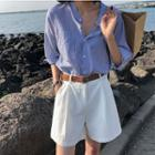 Set: Pinstriped Elbow-sleeve Shirt + Shorts