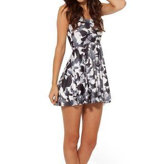 Bird-print Sleeveless Dress Black - One Size