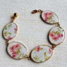 Gold Vintage Flower Bracelet One Size
