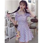 Printed Short-sleeve Collared A-line Dress