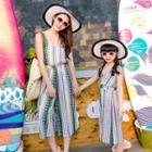 Family Matching Sleeveless Patterned Chiffon Dress