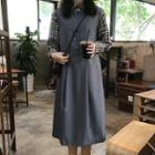 Sleeveless A-line Midi Dress / Plaid Shirt