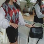 Inset Sleeveless Argyle Patterned Knit Top Shirt