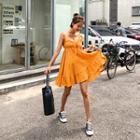 Sleeveless Frilled Mini Empire Dress