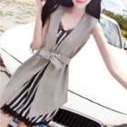 Set: Striped Sleeveless Dress + Vest
