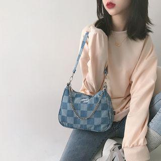 Checker Print Denim Shoulder Bag Almost Blue - Denim Blue - One Size