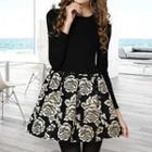 Long-sleeve Rose Print Dress