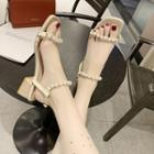 Faux Pearl Chunky-heel Sandals
