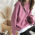 Plain Mock-two Fleece-lined Loose-fit Pullover