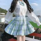 Shirt / Plaid Pleated Skirt