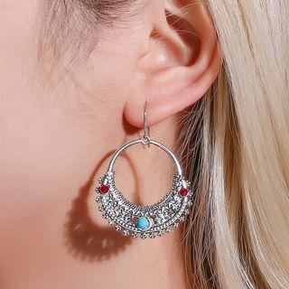 Metal Ring Dangle Earring 01-6004 - Silver - One Size