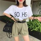 Lettering Short-sleeve T-shirt / Plain Frilled High-waist Shorts