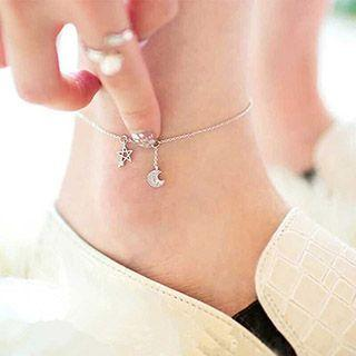 Moon And Star Sterling Silver Anklet