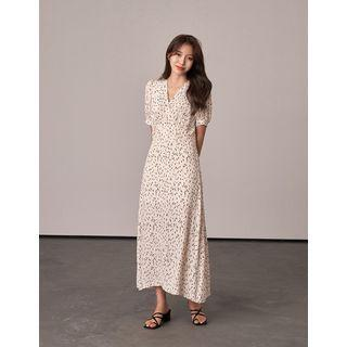 Puff-sleeve Patterned Maxi Wrap Dress