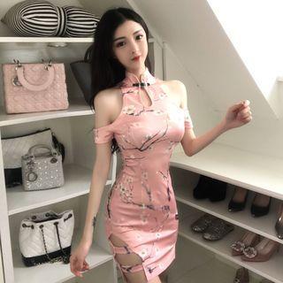 Floral Short-sleeve Mini Qipao
