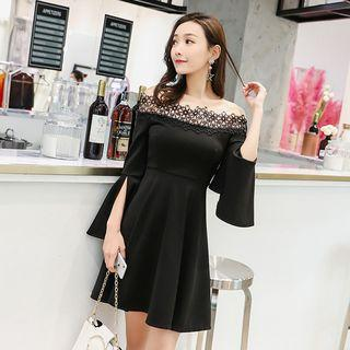 Off-shoulder Bell-sleeve Mini A-line Dress
