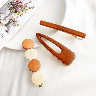 Wooden Hair Clip (various Designs) Set Of 3 - Wfj-008 - One Size