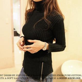 High-neck Rib-knit Sweater