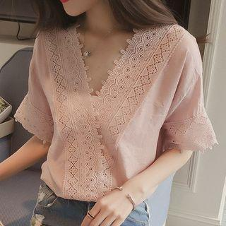 Short-sleeve Lace Trim V-neck Top