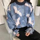 Bell Sleeve Printed Top As Shown In Figure - One Size