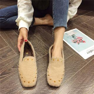 Studded Fluffy Loafers