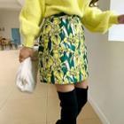 Flower Jacquard A-line Miniskirt